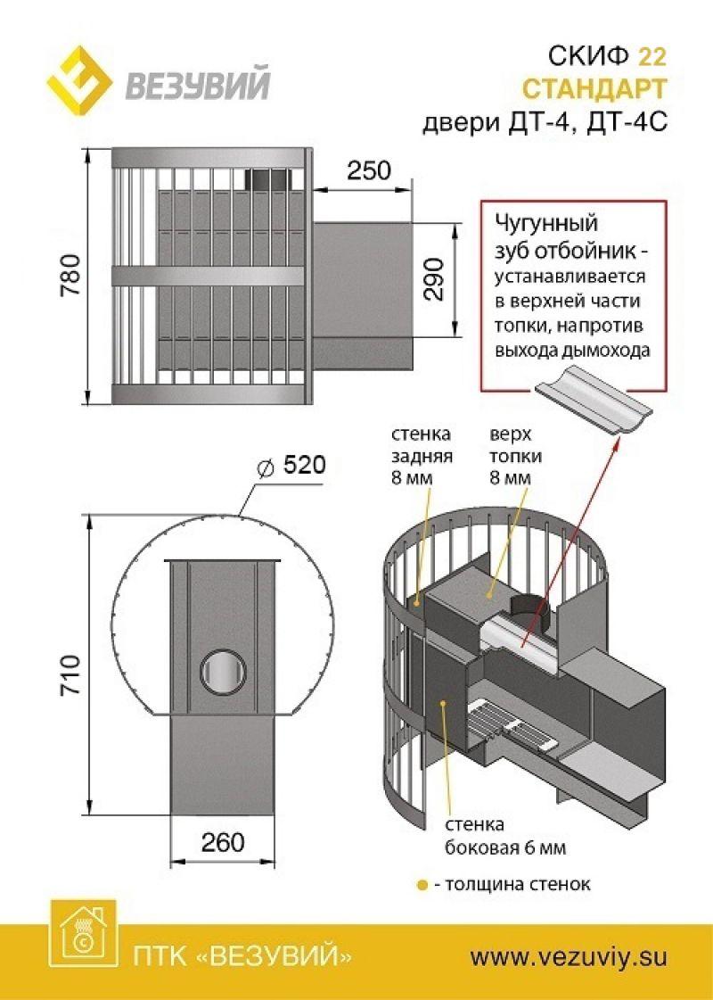 ПЕЧЬ СКИФ СТАНДАРТ 28 ДТ-4С