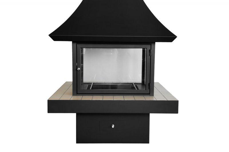 Современный камин на дровах для дома и дачи со стеклом. Модель LOFT - 06.