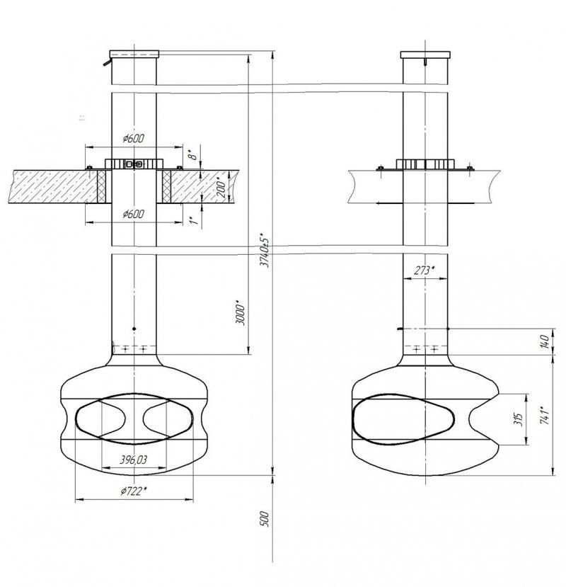 Современный подвесной камин для дома на дровах. Модель LOFT - 07.